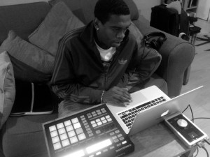 Cassell the beatmaker in the studio song writing